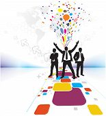 Abstract mosaic background with standing success businessman silhouetted . Vector illustration. poster