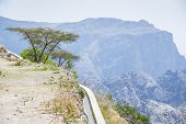 Image of water delivery system and landscape Jebel Akhdar Saiq Plateau in Oman poster