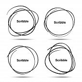 Set of Hand Drawn Scribble Circles, vector design elements poster