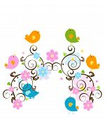 spring scene with cute birds and flowers poster