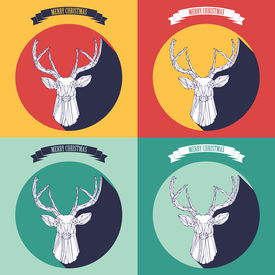 set christmas background with deer