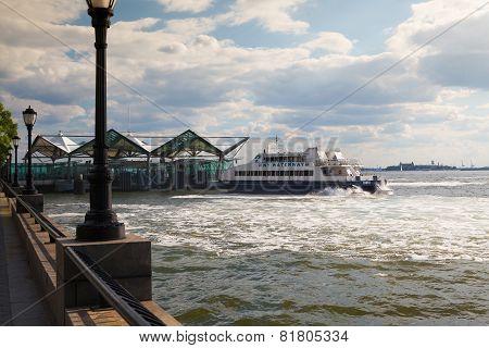 Hudson River Ferry In Battery Park, New York