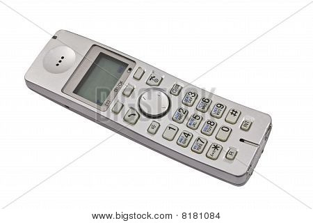 plastic dect phone isolated on the white poster