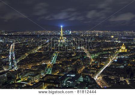 Paris - December 29: Paris At Night View From Montparnasse Tower On December 29, 2013 In Paris.  Is