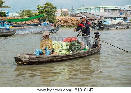 Boat On The Mekong River, Vietnam
