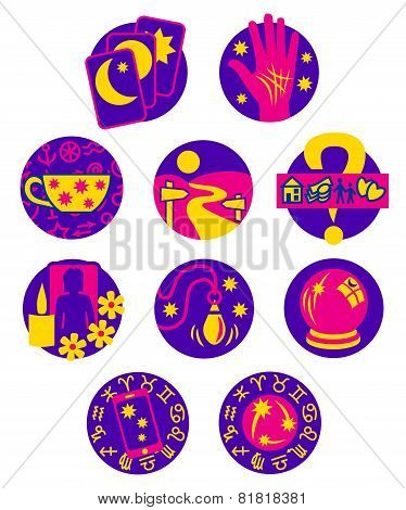 Ten symbols showing different methods of clairvoyant psychic fortune telling in pink, purple and yellow poster