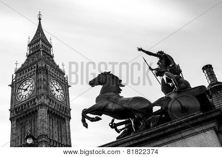 Big Ben And Queen Boadicea At Westminster In London