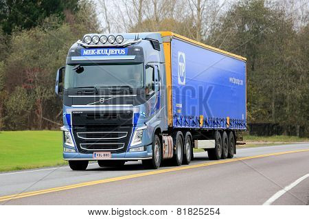 Blue Volvo FH Semi Truck On The Road
