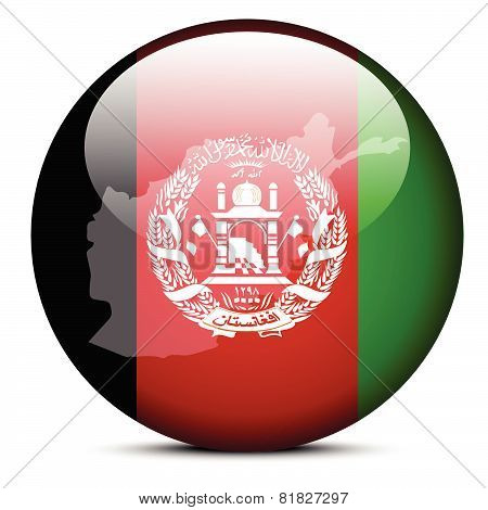 Map On Flag Button Of Islamic Republic Of Afghanistan