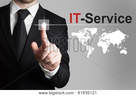 Businessman Pushing Button It Service Global