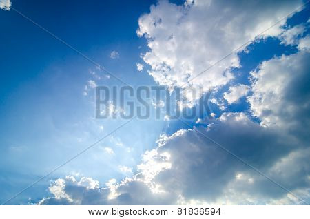 Blue Sky With Light From The Clouds