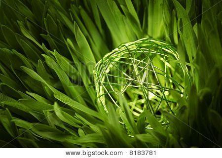 Green Wire Orb In Meadow