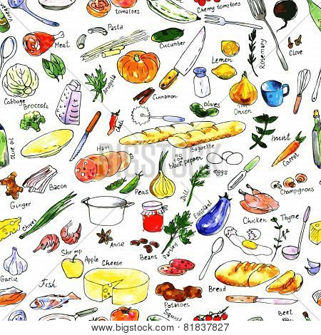 seamless pattern with foods