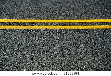 Asphalt Dark Texture With Yellow Lines