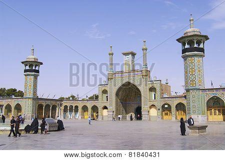 Fatima Masumeh Shrine exterior in Qom, Iran.