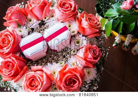 rose flowe and ring box  for wedding
