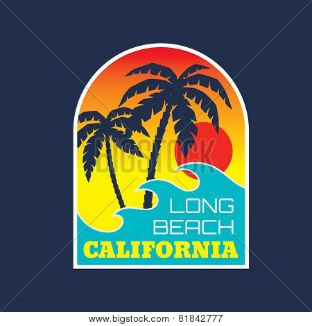 California Long Beach - vector illustration concept in vintage graphic style for t-shirt and other p