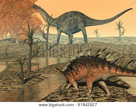 Dicaeosaurus and kentrosaurus dinosaurs - 3D render