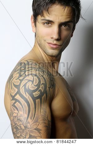 handsome muscular and tattooed man
