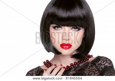 Black Bob Hairstyle. Red Lips. Brunette Girl With Short Healthy Hair Isolated On White Studio Backgr