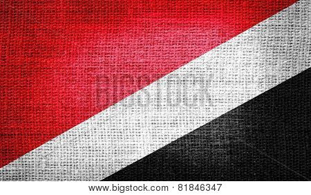 Sealand, Principality of National flag on burlap fabric