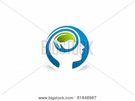 Mental health logo. psychology concept