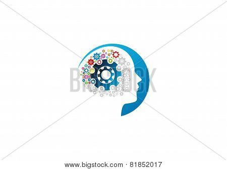 Gear bain vector logo design