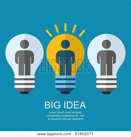 Creative Light Bulb With People, Business, Social, Strategy Concept. Vector Flat Illustration, Moder