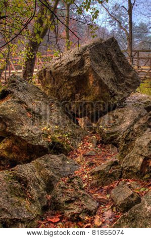Rocks And Bridge In Hdr Fall Colors.