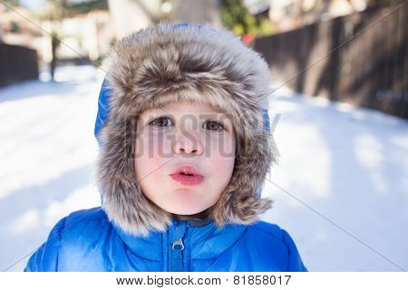 Child In Snow Hat And Jacket, Winter