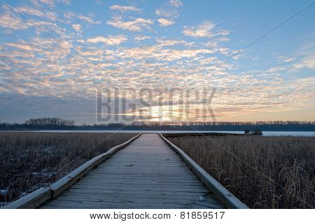 Boardwalk Sunrise In Wildlife Refuge