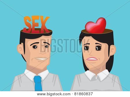 Difference Between Man's And Woman's Wants Concept Vector Illustration