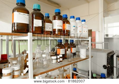Laboratory with a lot of bottles