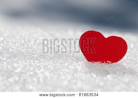 Red Hearts In Glittering Snow