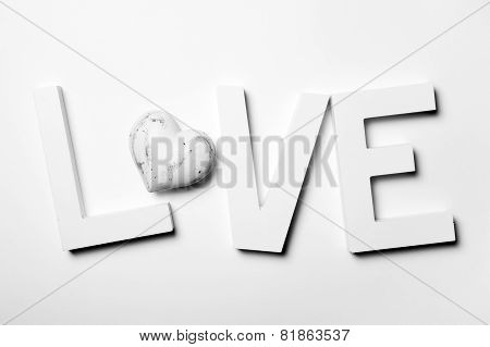 Love Written With Wooden Letters And Heart