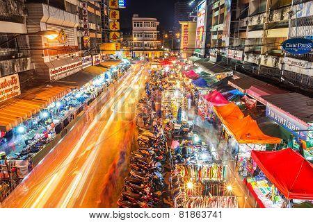 Warorot Market And Long Exposure Night Life.