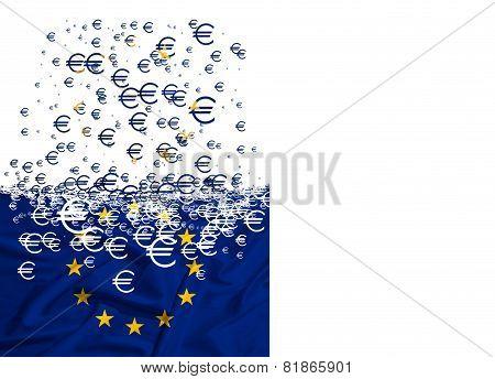European Union Flag Dissolving As A Simbol Of Crisis