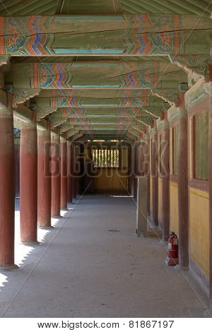 Gyeongju, Korea - October 19, 2014: Corridor At Bulguksa