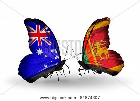 Two Butterflies With Flags On Wings As Symbol Of Relations Australia And Sri Lanka