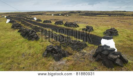 Peat In The Ground. Lewis Isle. Hebrides. Uk