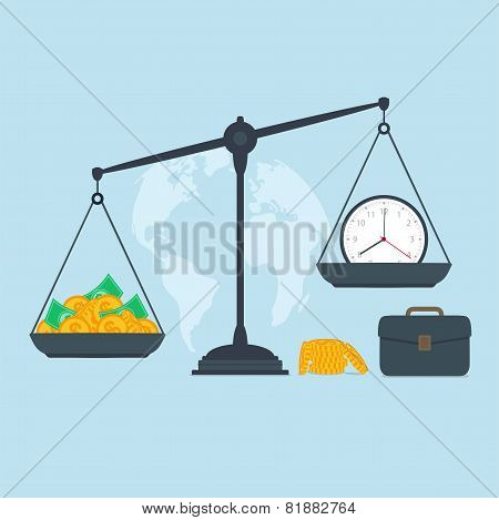 Time and money on scales business success poster