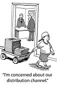 Cartoon of boy pulling finished product in wagon, businessman says he is concerned about our distribution channel. poster