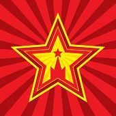 Star with Kremlin symbol - vector concept illustration in Soviet Union agitation style. Russia and USSR symbol. Moscow symbol. Red background. Minimal style. Design element. poster