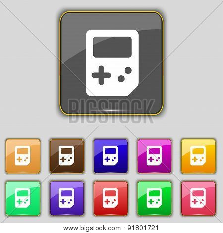 Tetris Icon Sign. Set With Eleven Colored Buttons For Your Site. Vector