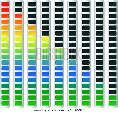 Level Or Generic Progress Indicators With Units. Vector.