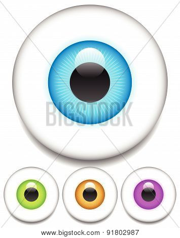Eps 10 Vector Eye - Eyeball Icons In Four Colors.