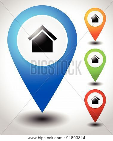 Map Pins, Map Markers With House Symbol, Vector.