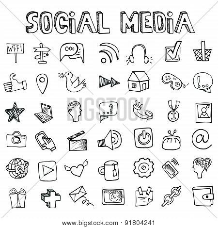 Social Media Icons set.Doodle sketchy elements