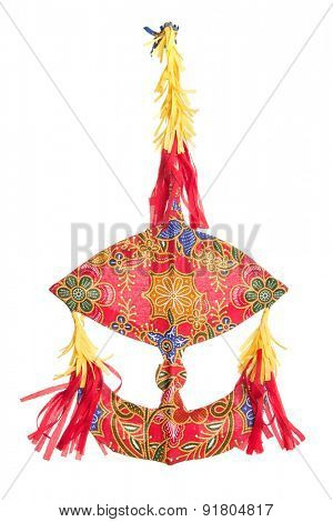 Malaysian traditional moon kite or Wau isolated on white background.