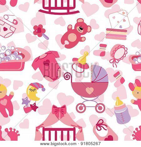 Newborn Baby girl seamless pattern